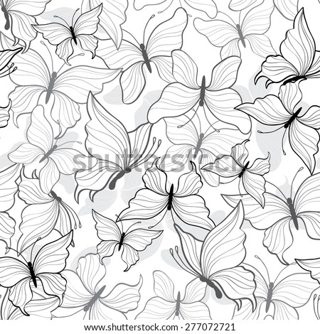 Black And White Pretty Butterfly Seamless Repeat Wallpaper