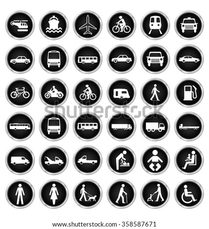 Black and white private commercial transport and people related icon collection isolated on white background  - stock vector
