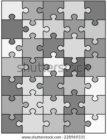 Black and white puzzle, vector illustration