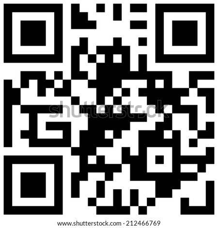 "Black and white QR code with text ""I love you!"" - stock vector"