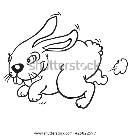 black and white rabbit cartoon