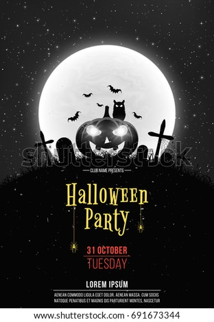 black and white retro background for halloween party cartoon pumpkin in the cemetery full