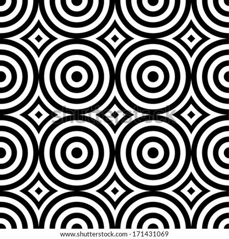 Black and white retro circles seamless pattern.  - stock vector