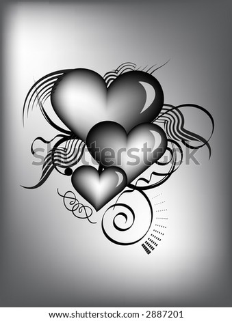 black and white retro hearts with vector - stock vector
