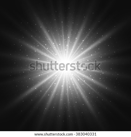 Black and white retro light sunburst background. Vector star burst glow shine with sparkles  illustration. - stock vector