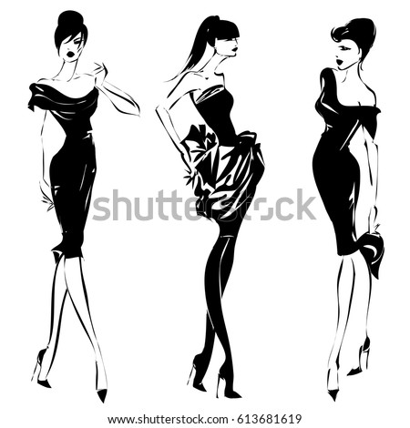 Beautiful Cabaret Girls Pose On Stage Stock Vector ...