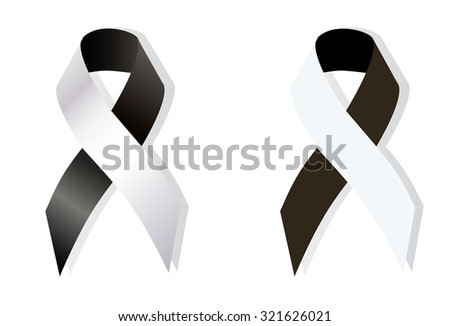 Black and White Ribbon Anti-Corruption, Anti-Racism, Carcinoid Syndrome Cancer, Diversity, Vaccine Awareness - stock vector
