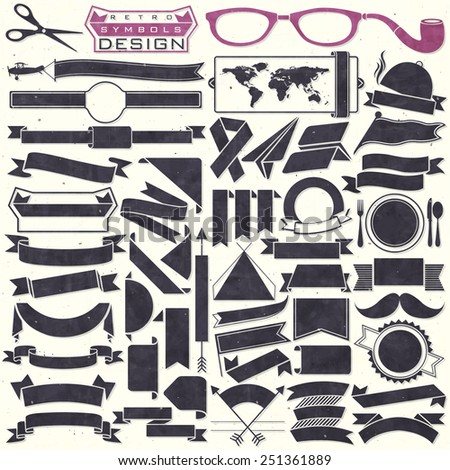Black and white ribbons collection. Set of Retro vintage style template for all design. Objects silhouettes. Vector illustrations. - stock vector