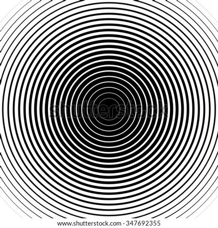 Black and white rings. Sound wave wallpaper. Radio station signal. Circle spin vector background. Line texture. Target - stock vector
