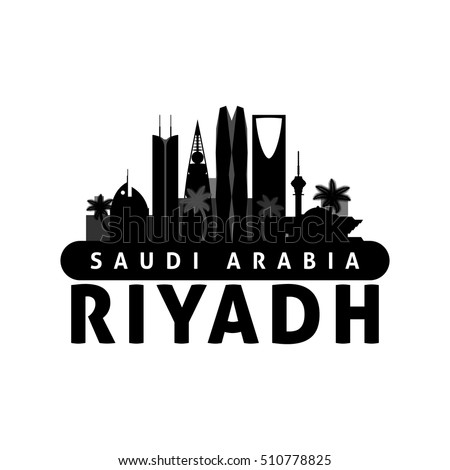Black and white Riyadh Saudi Arabia city skyline silhouette. Vector illustration