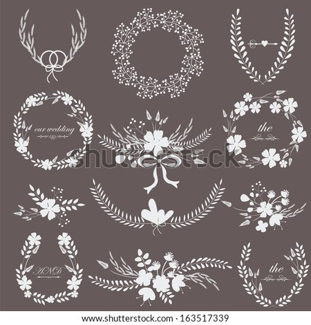 Black and white romantic wedding set with laurels, flowers and bouquets isolated on black background.  - stock vector