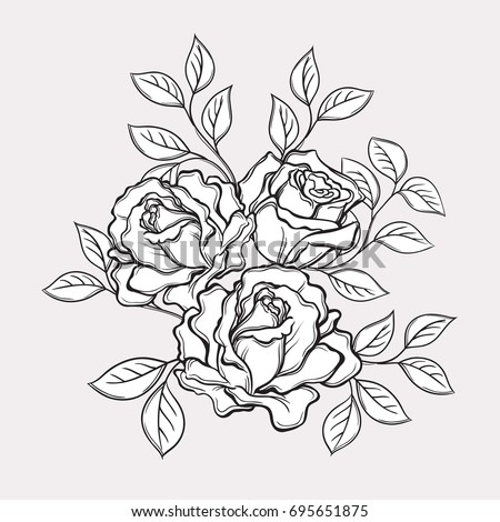 Black and white rose flowers and leaves. Hand drawn vector illustration. Floral design elements