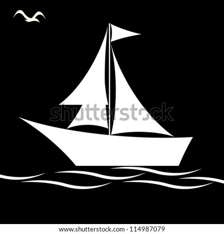 Black and white sailing boat - stock vector