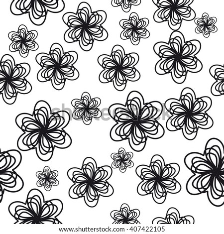 black and white seamess texture with flowers. Not clipping mask - stock vector