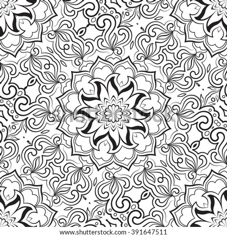 Black and white seamless abstract pattern, mandala. Vector design template for art. - stock vector