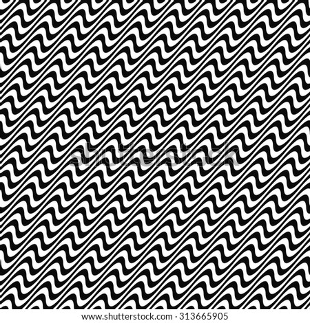 Black and white seamless angular wave pattern - stock vector