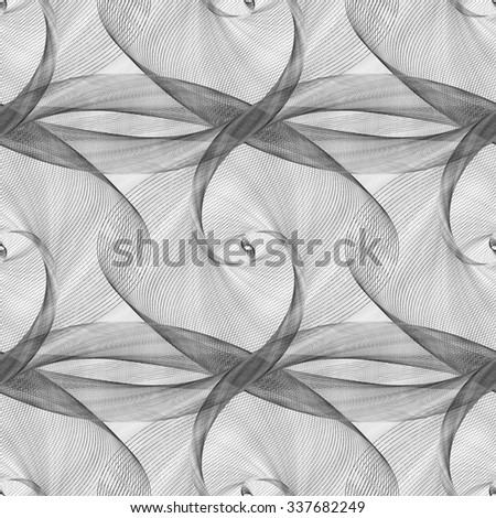 Black and white seamless elliptical curved pattern - stock vector