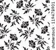 Black and white seamless floral pattern, vector illustration - stock vector