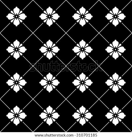 Black and white seamless flower ornament background vector - stock vector