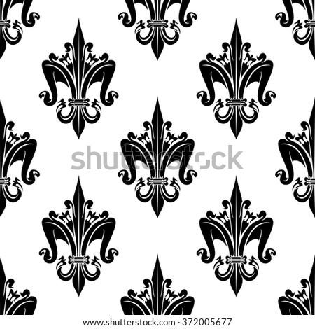 Black White Seamless French Heraldic Decorative Stock