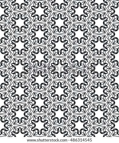 Black and white seamless geometric line pattern in arabian style, ethnic ornament. Endless hexagonal texture for wallpaper, banners, invitation cards. Seamless monochrome graphic background