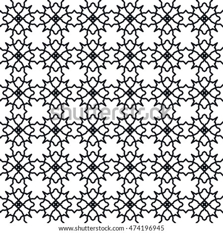 Black and white seamless geometric line pattern. Vector graphic design, ethnic ornament, monochrome illustration. Seamless lace background