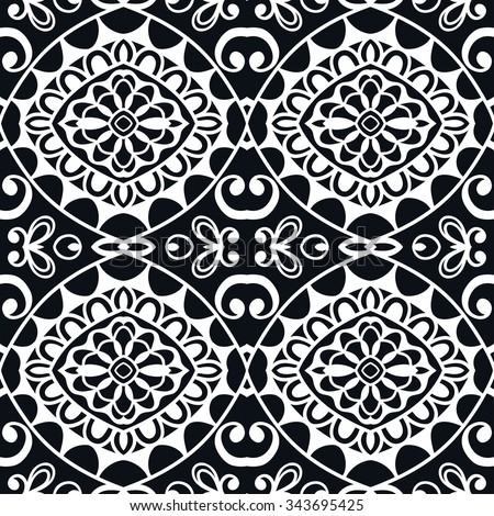 Black and white seamless geometric pattern, tribal ethnic arabic indian ornament. Hand drawn abstract background with sketchy repeating texture.  - stock vector