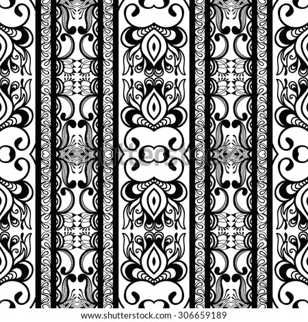 Black and white seamless geometric pattern, tribal ethnic ornament, Arabic Indian motif, vector abstract background.