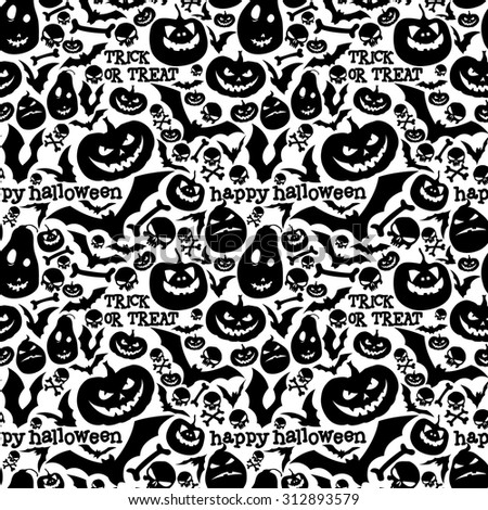 black-and-white seamless pattern for Halloween - stock vector