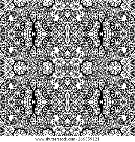 Black and white seamless pattern, hand drawing background, vector illustration - stock vector