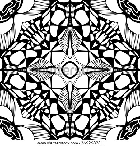 Black and white seamless pattern. Monochrome vector illustration. - stock vector