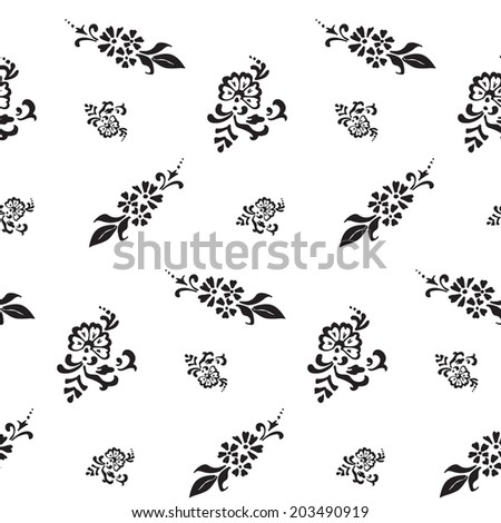 black and white seamless pattern of flowers and swirls. decorative hand-painted.