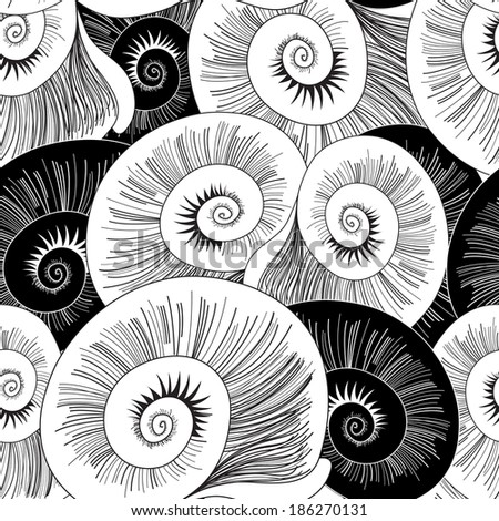black and white seamless pattern of graphical shells