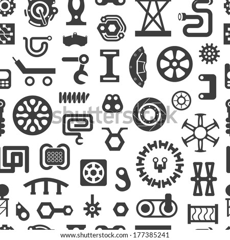 Black and White Seamless Pattern. Set of Industrial or Construction Vector Items on White - stock vector