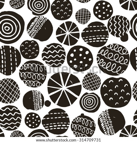 Black and white seamless pattern. Simple vector background with decorative circles. - stock vector