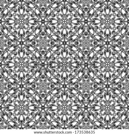 Black and white seamless pattern, vector floral ornament - stock vector