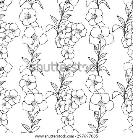 black and white seamless pattern wirh Alamanda, vector illustration - stock vector