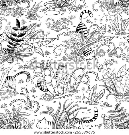 Black and white seamless pattern with cats - stock vector