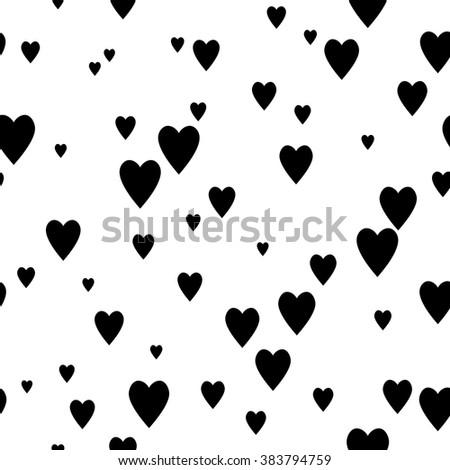 Black and white seamless pattern with hearts. Vector background