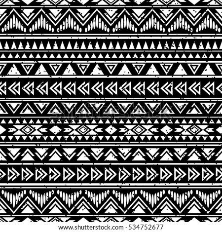 black white seamless pattern tribal aztec stock vector