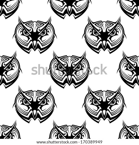 Black and white seamless repeat pattern of the heads of wise old horned owls. Rasterized version also available in gallery - stock vector