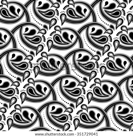 Black and White Seamless Vector Paisley Pattern - stock vector