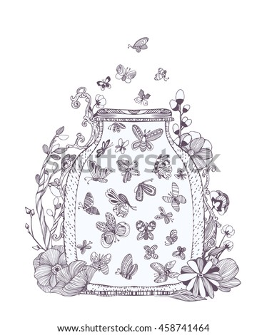 Black And White Set Of Cute Butterflies In Bug Flowers Jar With Fireflies