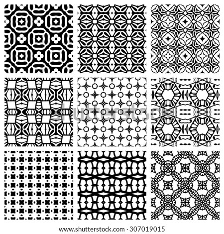 Black and white Set of seamless geometric patterns, simple design elements collection, monochrome background. - stock vector