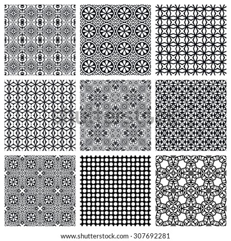 Black and white Set of seamless geometric patterns, simple design elements collection, monochrome background.