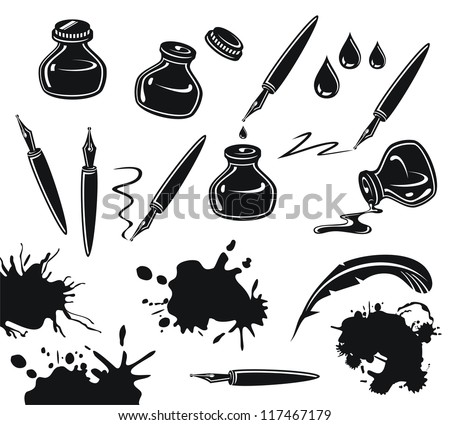 Black and white set with pens, ink pots and spills - stock vector