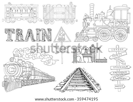 Black and white set with vintage locomotives and old train theme details. Doodle line art illustrations with hand drawn design elements - stock vector