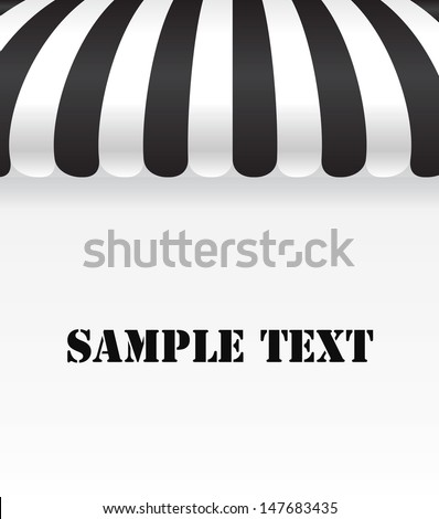 Black and white shop awning on white - stock vector