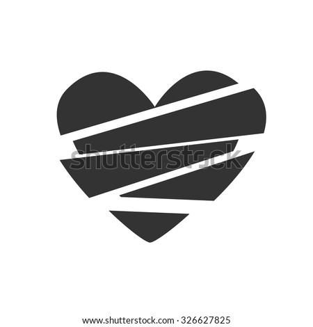 Hand heart sign black and white