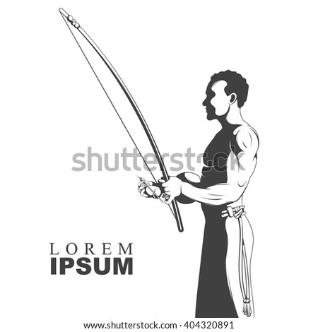 Black and white silhouette capoeira dancer playing on instrument berimbau. Vector - stock vector